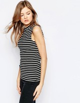 B.young High Neck Striped Sleeveless Top