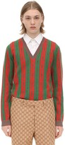 Gucci Wool Blend Jacquard V-Neck Sweater