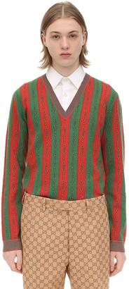 Gucci Wool Blend Jacquard V-Neck Sweater