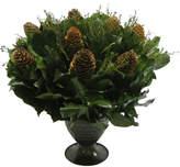 Bougainvillea Pine Cones, Forest Tea and Salal in Metal Trophy Vase