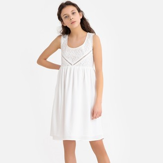 La Redoute Collections Lace Open Back Dress, 10-16 Years