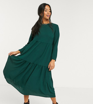ASOS DESIGN Petite long sleeve tiered smock midi dress in green