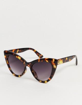 Cat Eye Asos Design ASOS DESIGN oversized sunglasses in tort-Brown