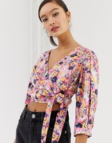 Monki floral print tie front cropped blouse in pink