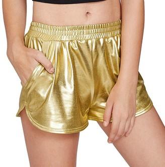 Wanshop Women Summer Pants Ladies High Waist Elastic Sports Shorts Shiny Metallic Hot Pants (L