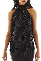 JCPenney Bisou Bisou® Sequined Draped-Back Halter Top