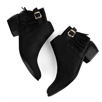 Unique Bargains Women Buckle Strap Tassel Low Chunky Heel Booties Black 6.5 M US