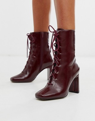 Asos Design DESIGN Expression lace up heeled boots in burgundy-Red