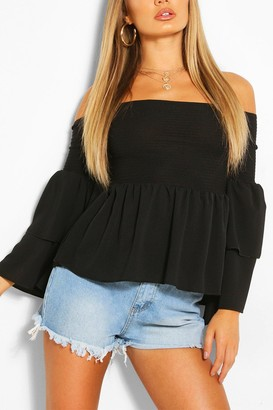 boohoo Woven off the shoulder flared sleeve top