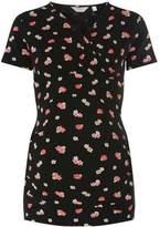 Dorothy Perkins Womens **Materntiy Black Floral Wrap Top
