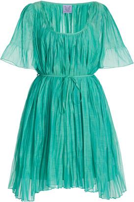 Thierry Colson Sparta Pleated Cotton-Silk Mini Dress