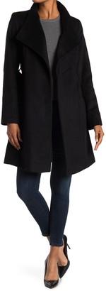 Michael Kors Missy Asymmetrical Belted Wool Blend Coat
