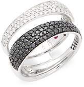 Roberto Coin Women's Black & White Diamonds and 18K White Gold Double Ring