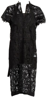 Sacai Embroidered Lace Midi Dress