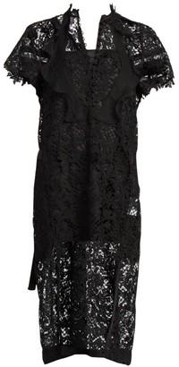 Sacai Embroidered Lace Midi Dress