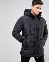 Pull&Bear Padded Parka Jacket In Black