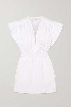 IRO Galena Ruffled Shirred Cotton-poplin Mini Dress