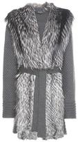 Salvatore Ferragamo Fur-trimmed knitted virgin wool coat