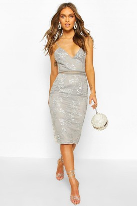boohoo Occasion Sequin Floral Midi Dress