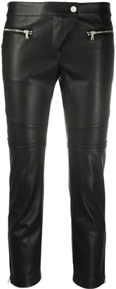 Patrizia Pepe Leather-Effect Cropped Trousers