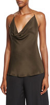 Cushnie et Ochs Draped Halter-Chain Sleeveless Blouse, Dark Green
