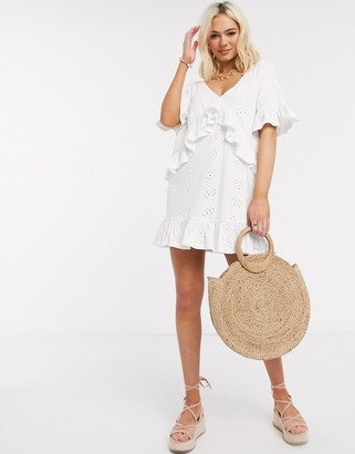 ASOS DESIGN broderie v frill front smock mini dress in white