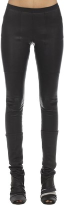 Rick Owens Leather And Cotton Leggings