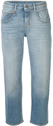 R 13 Straight-Leg Cropped Jeans
