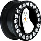 Body Candy Black Acrylic Candy Corn Ghost Screw Fit Plug Pair 18mm