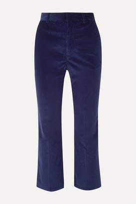 Altuzarra Adler Cropped Cotton-blend Corduroy Straight-leg Pants - Navy