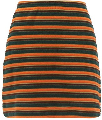 STAUD Lola Striped-terry Mini Skirt - Green Multi