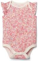 Floral flutter bodysuit