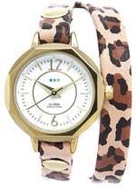 La Mer Del Mar Goldtone Leopard Print Leather Wrap Watch