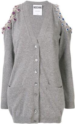 Moschino cold-shoulder embellished cardigan