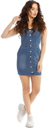 Missguided Button Detail Stretch Denim Mini Dress Lt