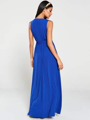 AX Paris Wrap Front Maxi Dress - Blue/Cobalt