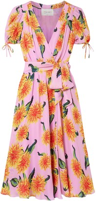 Carolina Herrera Floral-print Silk Crepe De Chine Midi Wrap Dress