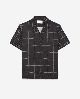 The Kooples Short-sleeved black shirt with check pattern