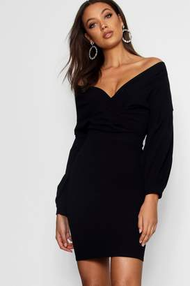 boohoo Tall Off The Shoulder Mini Dress