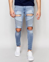 SikSilk Skinny Extreme Skinny Biker Jeans With Distressing