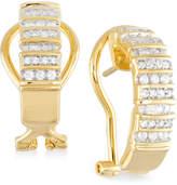 Macy's Diamond Semi-Hoop Earrings (1/2 ct. t.w.) in 14k Gold over Sterling Silver