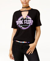 Hybrid Juniors' Pink Floyd Cutout Graphic T-Shirt