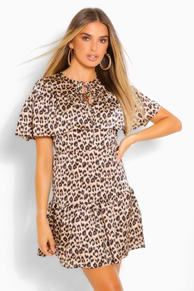boohoo Leopard Cape Detail Skater Dress