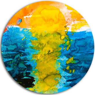 Design Art Usa Sea Texture In Yellow Blue, Abstract Painting Round Metal Wall Art, 38