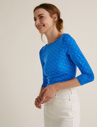 Marks and Spencer Cotton Polka Dot Print Fitted Top