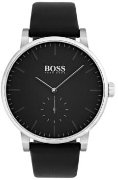 BOSS Men's Essence Black Leather Strap Watch 42mm 1513500