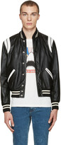 Saint Laurent Black and White Leather Teddy Bomber Jacket