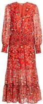 Rixo Maya Printed Smocked Dress