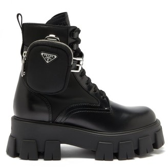 Prada Detachable-pouch Leather And Nylon Combat Boots - Black
