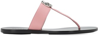 Gucci 10mm Marmont Leather Thong Sandals